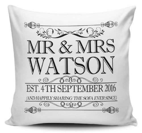 Personalised Happily Sharing The Sofa Anniversary Cushion Cover